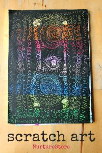 how to do scratch art projects for kids :: process art for kids :: exploring oil pastels :: easy oil pastel project