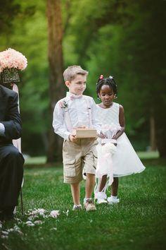Ringer Bearer and Flower Girl at Elegant Wadsworth Mansion Wedding   Kris Rae Photography   Reverie Gallery Wedding Blog