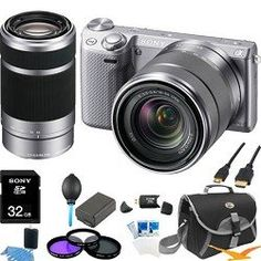 Review Cheap Sony NEX-5R NEX5R, NEX5RKS, NEX5RK 16.1 MP Compact Interchangeable Lens Digital Camera Silver Wifi, With 18-55mm Lens and 55-210 Zoom Lens ULTIMATE BUNDLE with 32GB High Speed Card, Spare Battery, Filter Kit, Mini HDMI cable, Card reader, Case + More!