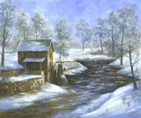 Founder of Digital Market Maker - technology that empowers. Water Mill, Oil Water, Paint Patterns, Wind Mills, Old Buildings, Winter Scenes, Winter Christmas, Mixed Media Art, Bridges