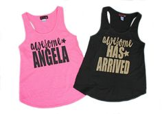 Awesome Has Arrived Tank Top Girls Glitter Shirt Gold by madgrrl