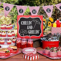 Fire up your picnics & BBQs with a cool chalkboard sign, pennant banner, & more. Check out our gingham BBQ ideas!