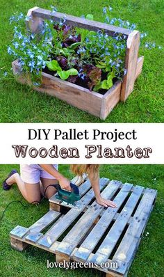 Wood Pallet Ideas Pallet Project: use pallets to create simple wood planters - How to use pallet wood to create simple trug-style containers. A simple project that can be used to make wooden planters. Wood Pallet Planters, Wooden Pallet Projects, Wooden Pallet Furniture, Pallet Crafts, Diy Planters, Pallet Ideas, Diy Crafts, Pallet Wood, Diy Projects