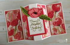 I had such great fun playing and creating fun fold cards with the Peaceful Poppies products from Stampin' Up!