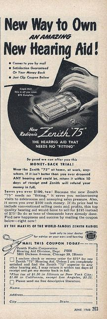 "Vintage Ad For The Zenith ""75"" Radionic Hearing Aid, From Popular Science Magazine, June 1948 
