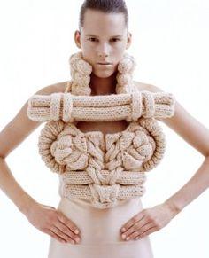 Swedish artist Sandra Backlund involving knitting style apparel.