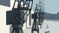 3D Old Cranes Industrial Model - 3D Model