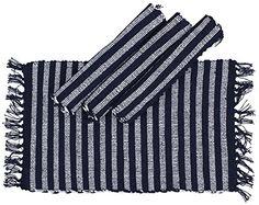Delicieux Elegant Stripes U2013 Handmade Pure Cotton Reversible Table Mats/ (Set Of In  Blue U0026 White Stripes
