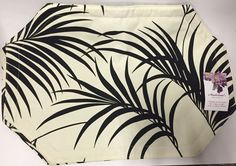 Cream Placemats with Black Tropical Ferns