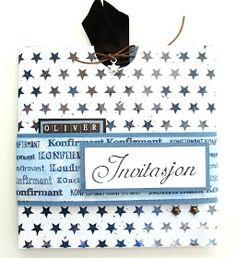 Kreativ Hobby: Anne Bente - Invitasjon til konfirmasjon (gutt) Anna, Monogram, Michael Kors, Pattern, Bags, Creative, Handbags, Patterns, Monograms