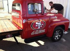 """ here is my friends truck. Biggest fans in the Imperial Valley. Sf Forty Niners, Sf Niners, Nfl 49ers, 49ers Fans, Football Love, Football Team, New Trucks, National Football League, Sexy Cars"