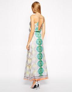 Enlarge Aryn K Deep V Printed Silk Maxi Dress