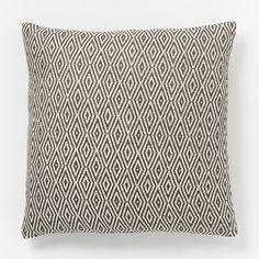 Hand-Loomed Diamond Pillow Cover - Slate