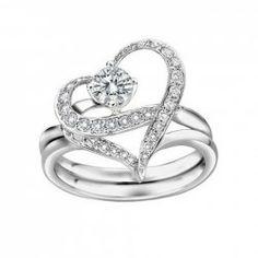 $3.20 2PCS Elegant Style Rhinestone Decorated Heart Shape Lovers' Rings