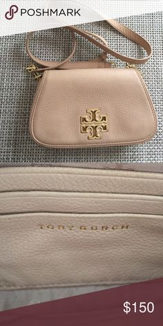 Tory Burch Blush Crossbody Hello! This is a leather blush crossbody with gold detailing. It is pre owned with no flaws. Just a little dirty on the outside which I will clean before sending out. Fits a small card wallet and cell phone. Has slots for cards on the inside Tory Burch Bags Crossbody Bags