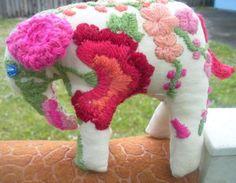 OOAK elephant handmade embroidery. via Etsy.