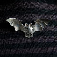 Bat Brooch - sterling silver - metal brooch via Etsy