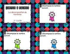 Cartes à tâches - Décomposition de nombres Math Blocks, Daily Math, French Resources, Task Cards, Teaching Math, Math Centers, Education, School, Mille