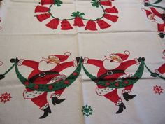 "Vintage HAPPY DANCING SANTA Christmas Tablecloth 52 x 69"" New Xmas Simtex"