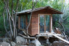 "cabinporn: "" Ian's modified travel trailer cabin, Upper Ojai, California. Contributed by Bob Muschitz. """
