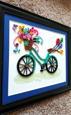Paper Quilled Bicycle frameBicycle nurseryBicycle Wall