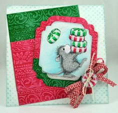 Stacked mints and mouse holiday card made with, Stampendous, TombowUSA, and DWStencils.