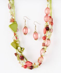 Look at this #zulilyfind! Strawberry Limeade Necklace & Earrings by LOLO by New Dimensions #zulilyfinds