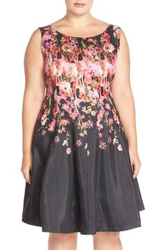 Gabby Skye Floral Shantung Fit & Flare Dress (Plus Size)