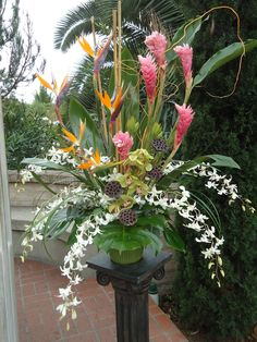 Gorgeous pink ginger, white dendrobium orchids and birds of paradise altar arrangement. Tropical Flowers, Tropical Flower Arrangements, Modern Floral Arrangements, Church Flower Arrangements, Large Flowers, Exotic Flowers, Beautiful Flowers, Altar Flowers, Church Flowers