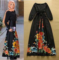 Купить товарЖенщины одеваются мода 2015 лето длинное платье женщин печать полный рукав платье линии о образным шея империя талии длиной макси платье в категории Платьяна AliExpress.