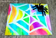 Water Color Resist Spider Web Art for Kids! Use watercolor paints and Elmer's Rubber Cement to create colorful works of art for Halloween! Theme Halloween, Creepy Halloween Decorations, Halloween Crafts For Kids, Halloween Activities, Scary Halloween, Fall Crafts, Fall Halloween, Holiday Crafts, Spider Web Craft