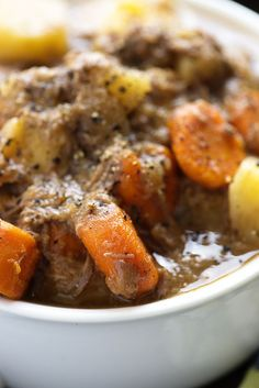 This slow cooker beef stew is so thick and hearty! Your house will smell amazing as this cooks in the crock pot!