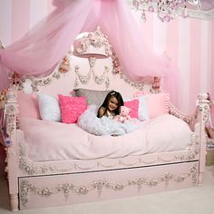 Princess Rose Daybed from PoshTots  #princessdaybed #princessroom #luxurygirlsbed