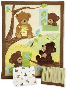 Bedtime Originals Honey Bear 3 Piece Crib Bedding Set, Brown/Green
