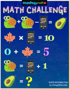 Can you solve this week's math challenge? Be sure to follow @mashupmath on Twitter for all of our free weekly math resources and worksheets! Math Logic Puzzles, Math Worksheets, Math Resources, Play Math Games, Math Talk, Math Challenge, Daily Math, Maths Algebra, Picture Puzzles