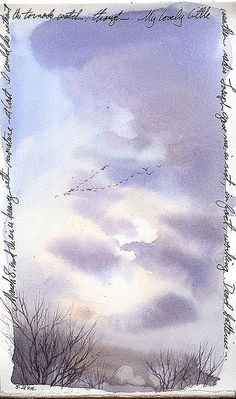 Evening Clouds by Cathy (Kate) Johnson.  LOOK at the simplicity and beauty in this painting.   A background wash.  Details of trees and a flock of birds.   WOW !!!
