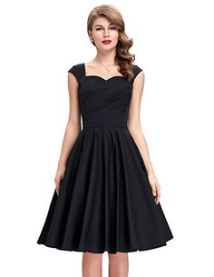 A-Line Vintage Style Dress for Women Black Size S BP187-1