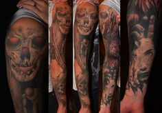 Sleeve tattoo #sleeve #tattoo #skull #dark #thorns #red