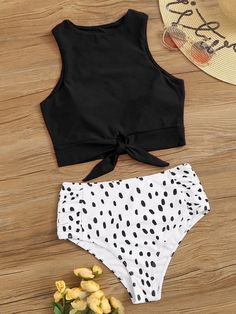 Togethor Sexy Bikini Set Bathing Suits Two Pieces Swimwear Women's Knot Front Crop Top Swimsuit with Floral Printing Bathing Suits For Teens, Summer Bathing Suits, Cute Bathing Suits, 2 Piece Swimsuits, Vintage Swimsuits, Women Swimsuits, Bikini Red, Brown Bikini, Bikini Swimsuit