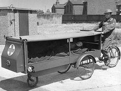 Utility Cycling Technology: World War II Ambulance Old Pictures, Old Photos, Vintage Photos, Ambulance, Bike Motor, Kangoo Camper, Home Guard, Cargo Bike, Bizarre