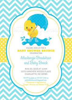 Rubber Duck Baby Shower Invitation Rubber Ducky by PartyPopInvites