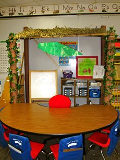 chair pockets on the back of the chairs at guided reading table with supplies kids might need (whiteboard, marker etc.)  DUH!!!