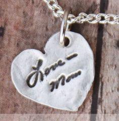 Memorial necklace - Signature necklace - Personalized signture - Personalized Memorial Neckalce - Silver. $88.00, via Etsy.