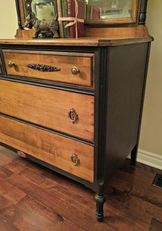 This gorgeous two-toned dresser was refurbished by Andrea from Crossroad Creations with Liquorice! I am so excited to share with you this latest dresser made… Two Tone Furniture, Brown Furniture, Colorful Furniture, Furniture Plans, Furniture Makeover, Diy Furniture, Repainting Furniture, Furniture Update, Chair Makeover