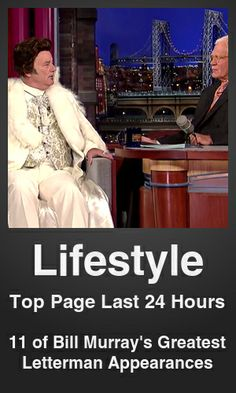 Top Lifestyle link on telezkope.com. With a score of 4972. --- 11 of Bill Murray's Greatest Letterman Appearances. --- #lifestyleontelezkope --- Brought to you by telezkope.com - socially ranked goodness