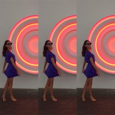 Gabé Hirschowitz stands in front of a Phillip K. Smith III light portal at Royale Projects, Downtown Los Angeles