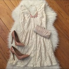 Cream Lace Dress Dress purchased from boutique in LA. Only worn once. The color is a cream/off-white. Size medium. Free gift with every purchase. Offers welcomed. Ginger G Dresses