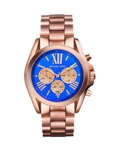 Reloj Michael Kors de acero color oro rosa con esfera azul #m'encanta!!
