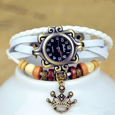 Woman watch with leather bracelet.  Bracelet from by WatchesGifts, $9.50