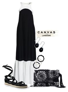 """""""Paint Your Look With Canvas by Lands' End: Contest Entry"""" by aztecgoddess-quetzal on Polyvore featuring Canvas by Lands' End, Lands' End and Oscar de la Renta"""